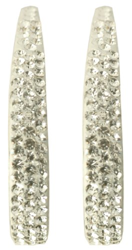 Silver White Crystal 1/2 Hoop Earrings