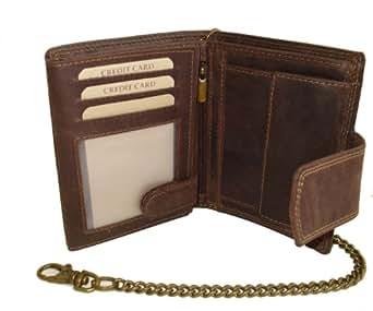Biker Portefeuille pour homme et femme avec la chaîne et fermeture extérieure Vintage-Style (compris la boîte-cadeau) LEAS MCL, cuir véritable, marron - ''LEAS Chain-Series''