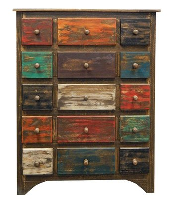 Arco Rustic Western 7 Drawer Multi Color Chest of Drawers Dresser Real Wood