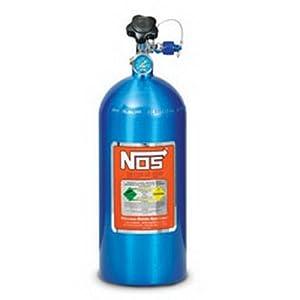 NOS 14745NOS Electric Blue 10-pound Aluminum Nitrous Bottle with Hi-Flow Valve