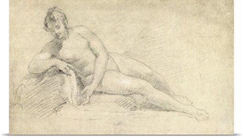 William Hogarth Poster Print entitled Study of a Female Nude (pencil and chalk on paper)