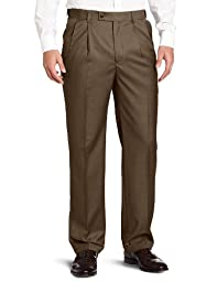 Louis Raphael ROSSO Men\'s Super 150 Twill Pleated with Comfort Waist Pant, Field, 34x29