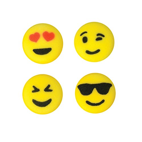 Emoji Assorted 24 Count Edible Sugar Cup Cake Cupcake Cookie Decorations