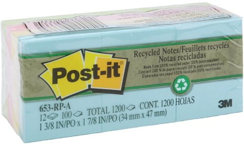 3M 653RPA Post-It Recycled Notes 1-3/8X1-7/8 100 Sheets 1 - Pack of 2 brand new universal one 100% recycled copy paper 92 brightness 20lb 8 1 2 x 11 white 5000 shts ctn