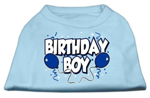 Mirage Pet Products 10-Inch Birthday Boy Screen Print Shirts, Small, Baby Blue front-1036531