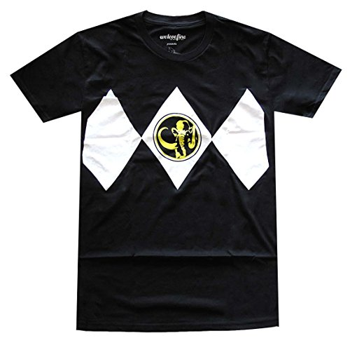 Mighty Fine Power Rangers Black Ranger Costume T-shirt (X-Large, Black) (Black Ranger Shirt compare prices)