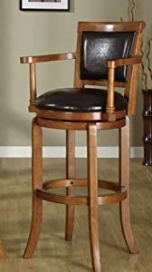 Oak Finish Monte Carlo Game Room Bi-cast Bar Stools With Arms