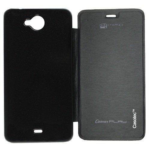 Casotec Premium Flip Case Cover for Micromax Canvas Play Q355 - Black  available at amazon for Rs.149