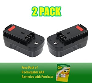 Black & Decker Firestorm FS1800RS Battery 18V, 2000mAh - Superior Powertool Replacement Battery - 2 Pack