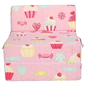 Pink girls cupcakes foam sit n sleep chair bed. Single sofa bed chair seat mattress