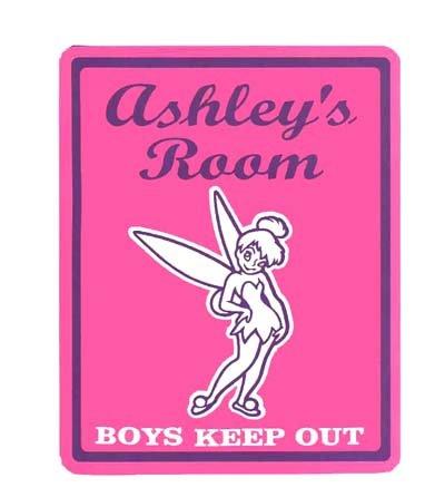 TINKERBELL Girls Bedroom Door SIGN, Personalized