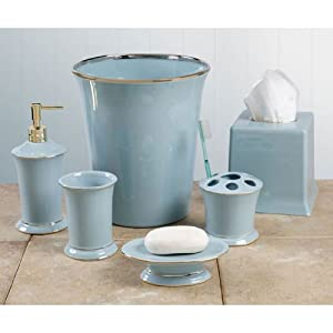 Regency bath collection soap dish aqua for Aqua bathroom accessories sets