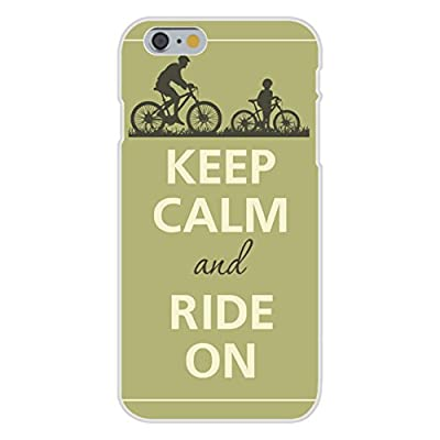 Apple iPhone 6 Custom Case White Plastic Snap On - Keep Calm and Ride On Parent w/ Child Bicycle
