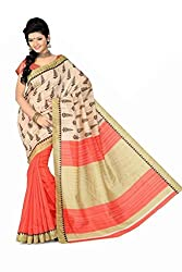Reveka Beige Bhagalpuri Silk Saree With Blouse
