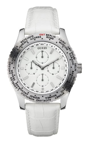 Guess International Mens Watch White Multifunctional Dial White Leather Strap W12082G2