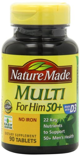 Nature Made Multi for Him 50+ Multiple Vitamin and Mineral Supplement Tablets, 90-Count (Nature Made Mega compare prices)