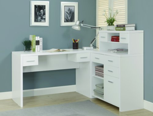 "Monarch Hollow-Core ""L"" Shaped Home Office Desk, White"