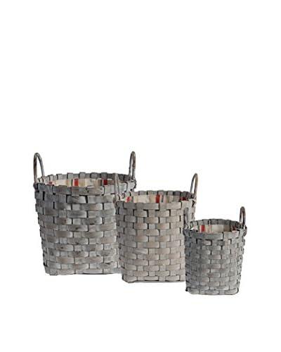Set of 3 Wicker Handle Baskets