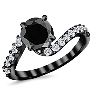 2.51 Carat 14K Black Gold Twisting & Curving Diamond Engagement Ring with a 2 Carat Black Diamond Center (Heirloom Quality)