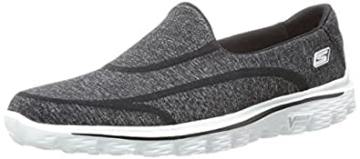 Skechers Performance Women's Go Walk 2 Super Sock Walking Shoe,Black/White,5 M US