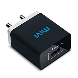 Mivi Smart Charge 2.1A Wall Charger with Auto­Detect Technology for iPhone, iPad, Samsung Galaxy, HTC, Nexus, Moto, OnePlus, Xiaomi, Bluetooth Speakers, Power Banks, Cameras and More (Black)