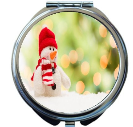 Rikki Knighttm Cute Snowman Over Abstract Background Design Round Compact Mirror