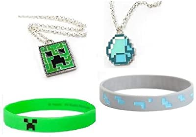 Minecraft Creeper Diamond Pendant Necklace And Rubber Bracelet Gift Set Of 4 Official Product From Mojang by MINECRAFT