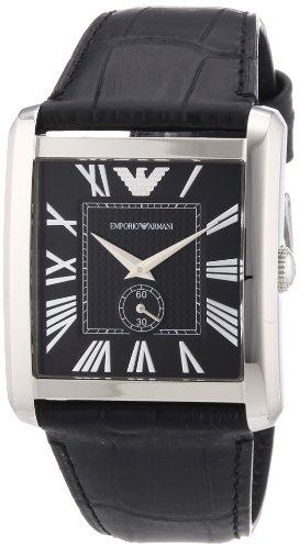 Emporio Armani Classic Marco AR1640 - Reloj analógico de cuarzo para hombre, correa de cuero color negro