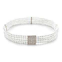 Luxury Ladies 4 Row Pearl Crystal Buckle Women Corset Belt Wedding Dress Decor