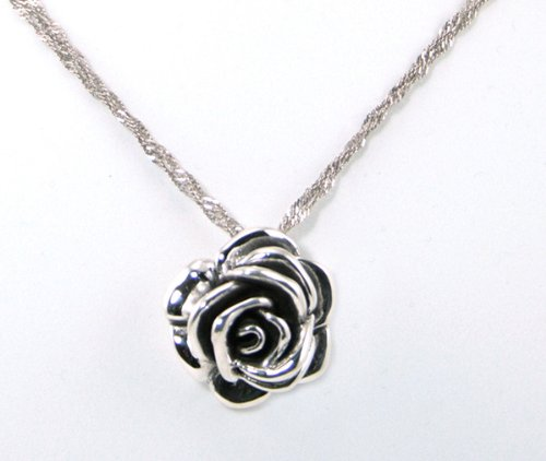 Rose Bloom Flower 925 Silver Pendant with 18