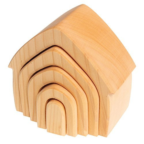 Grimm's Large 5-Piece Wooden Stacking & Nesting House, Natural - 1