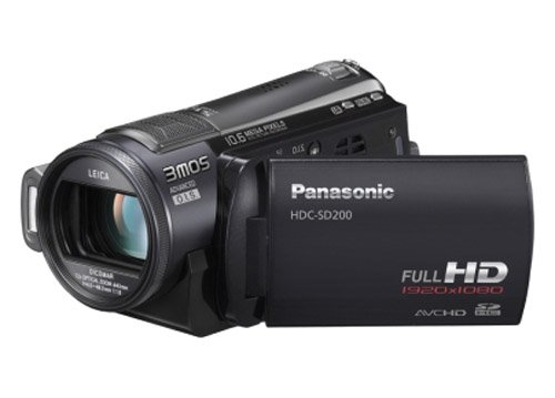 Panasonic HDC-SD200 High Definition Flash Memory Camcorder With SD Card Slot  &  3MOS Sensor - Black