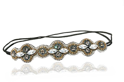 Urban-Gypsy-Grey-Rhinestone-Reversable-Headband-Elastic-Stretch-Headwrap-with-Style-Guide-20-Differnt-Ways-to-Wear