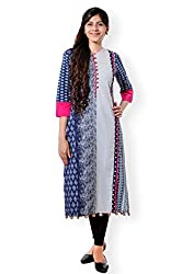 VESH Womens Straight Long Multi Coloured Pakistani Style Kurti, Rounded Neck with Split 'V', Embellished with Printed Pattern