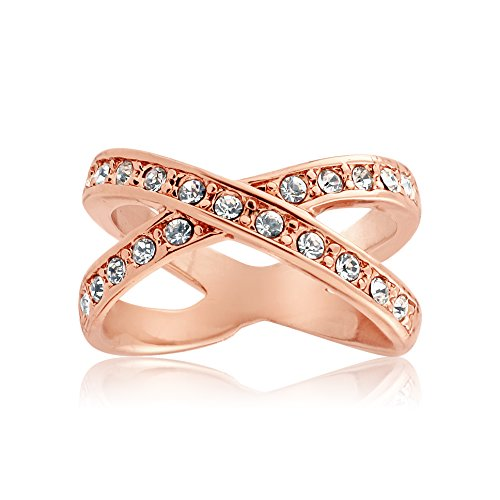 Queen Jewelers Rosetone Crystal Criss Cross X Ring Made with Swarovski Elements (X Ring Jewelry compare prices)