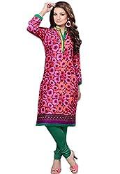 JCM Krishriyaa Women's Pink Cotton Printed Kurti with L Size