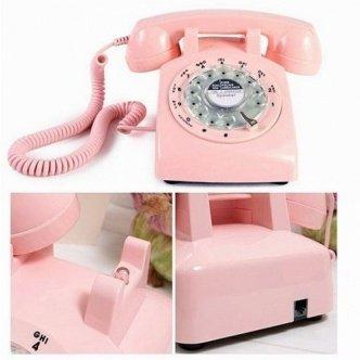 Steepletone Retro BT Teléfono fijo estilo antiguo con dial giratorio rosa