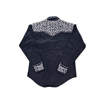 Rockmount Vintage Tooling Embroidery Western Shirt Black 6859-BLKSILVER