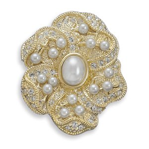 14 Karat Gold Plated Base Metal Floral Design Fashion Pin 3mm An 8mm X 10mm Oval Simulated Pearl