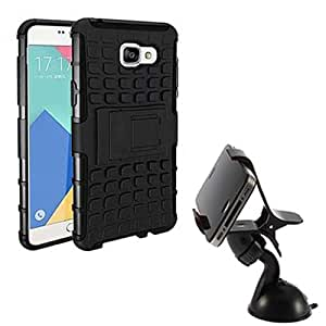 Aart Hard Dual Tough Military Grade Defender Series Bumper back case with Flip Kick Stand for Samsung A710 + Car Mobile Holder Mount Bracket Holder Stand 360 Degree Rotating by Aart store.