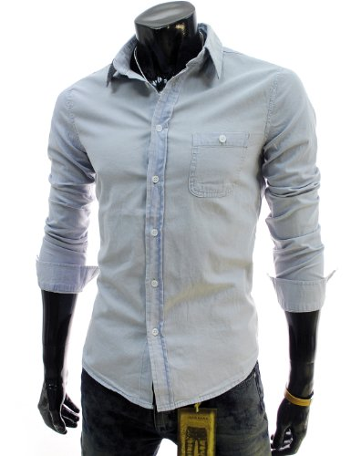8912d1089b TheLees Mens Casual Slim Fit Denim Style Washing Cotton ShirtsB00AWLPL24