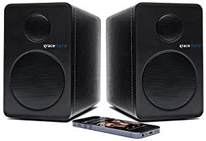 Grace Digital GDI-BTSP201 aptX Powered Bookshelf Bluetooth Speakers (Set of 2, Black)