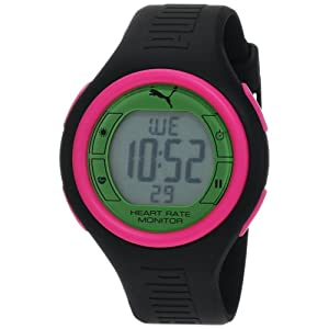 PUMA Women's PU910541015 Pulse Black and Green Digital Heart Rate Monitor Watch from PUMA