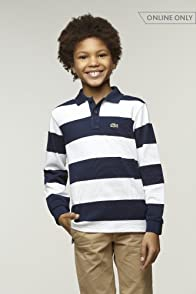 Boy's Long Sleeve Rugby Stripe Pique Polo