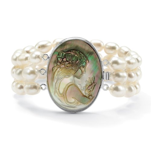 PalmBeach Jewelry Cultured Freshwater Pearl and Black Mother-of-Pearl Cameo Triple-Strand Bracelet