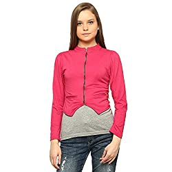 Vvoguish Cotton Pink Zipper Short Shrug-VVSHGZP247PNK-L