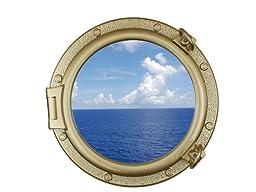 Gold Finish Decorative Ship Porthole Window 20\