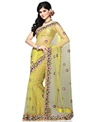 Utsav Fashion Women's Yellow Net Saree With Blouse