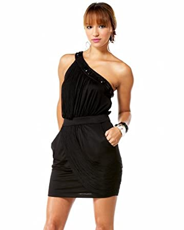 Fringe & Studded One Shoulder Dress :  beads sexy one shoulder style