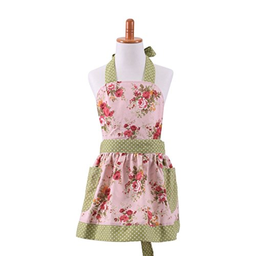 G2Plus 2015 HOT New Child Cotton Canvas Kitchen Apron with Pocket Lovely Classic Style Pink Floral Children Apron for Cooking or Baking Apron Kid Girl Apron(Floral Pink with Green Lace)
